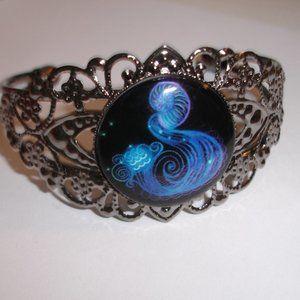 Aquarius Cameo Glass Dome Cuff Bracelet